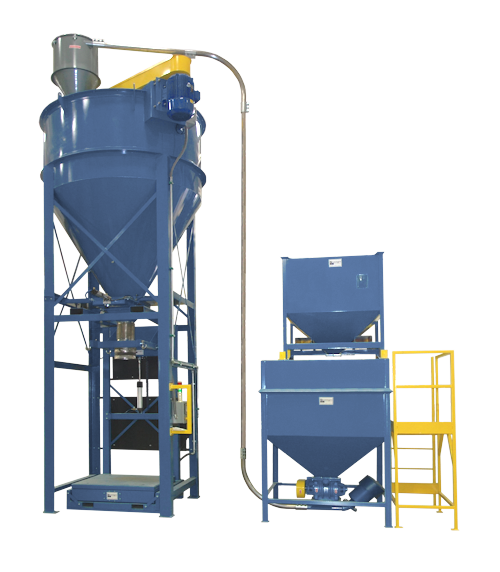 Stationary Vertical Auger Mixer with integrated automated bulk bag filind station underneath