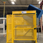 Side Load Hydraulic Gaylord Container Box Dumper With Safety Cage With Swing Door and Automated Controls