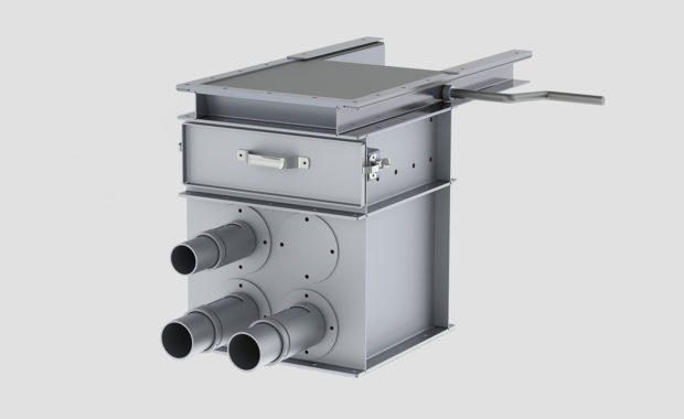 Vacuum Takeaway Box is just one of the many bulk material handling products Ensign carries - Air Box - VTA - Probe - Angle Hair Trap - Gate - Rack & Pinion Gate - R&P Gate - Aluminum - Pneumatic conveying component -2