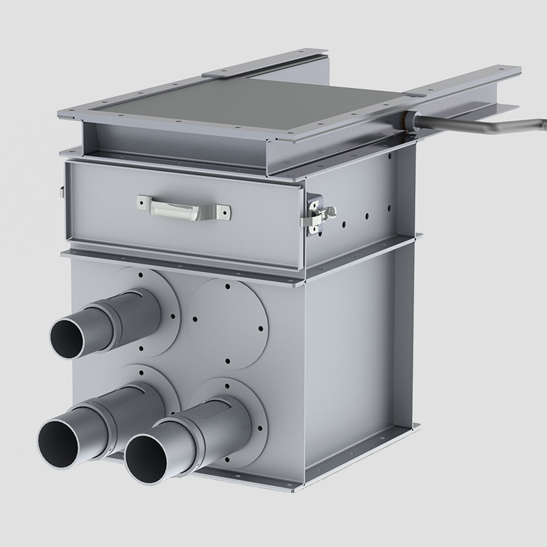 Vacuum Takeaway Box - Air Box - VTA - Probe - Angle Hair Trap - Gate - Rack & Pinion Gate - R&P Gate - Aluminum - Pneumatic conveying component -3