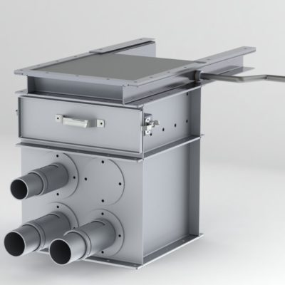 Vacuum Takeaway Box - Air Box - VTA - Probe - Angle Hair Trap - Gate - Rack & Pinion Gate - R&P Gate - Aluminum - Pneumatic conveying component
