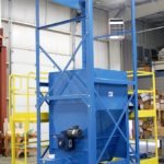 Bulk Bag Unloading Station with Agitator Hopper and Operator Platform, Manual Super Sack Unloader, High Capacity Live Bottom Bin