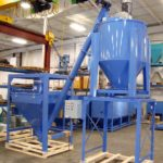 Supersack discharger with screw conveyor and Ribbon Mixer, Bulk Bag Discharger with Screw Conveyor and Powder Mixer